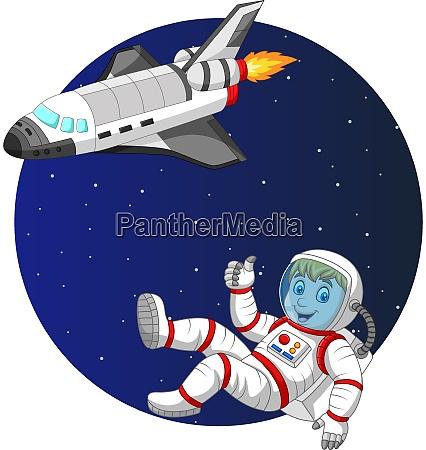 cartoon junge astronaut mit space shuttle