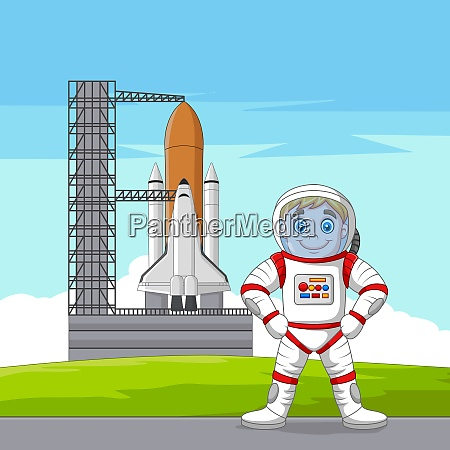 cartoon astronaut mit raumschiff startbereit