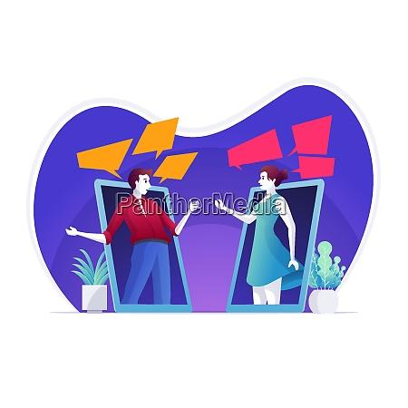 mann und frau kommuniziert per video