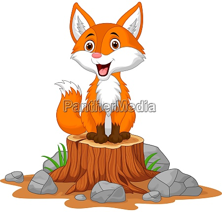 cartoon happy fox sitting on tree