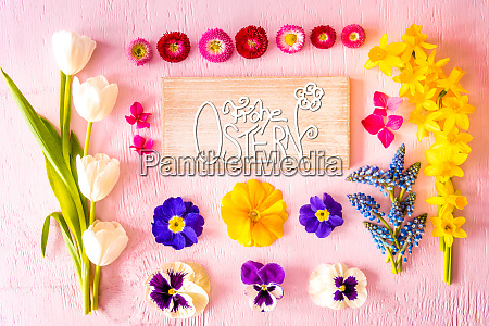 spring flat lay flowers sign calligraphy
