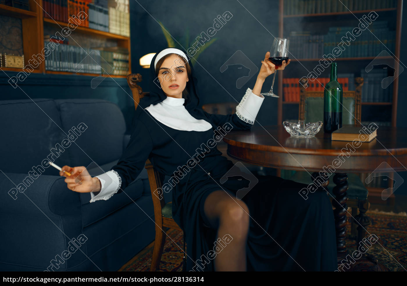 sexy, nun, with, cigarete, and, glass - 28136314