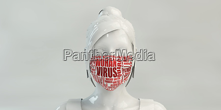 wuhan virus with woman wearing protective