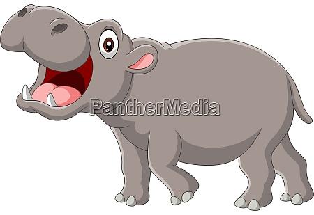 cartoon hippo mit offenem mund