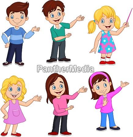 cartoon kinder mit verschiedenen posiert