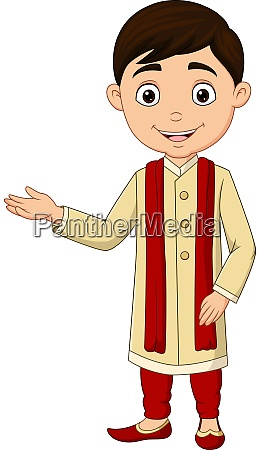 cartoon indian boy wearing traditional costume