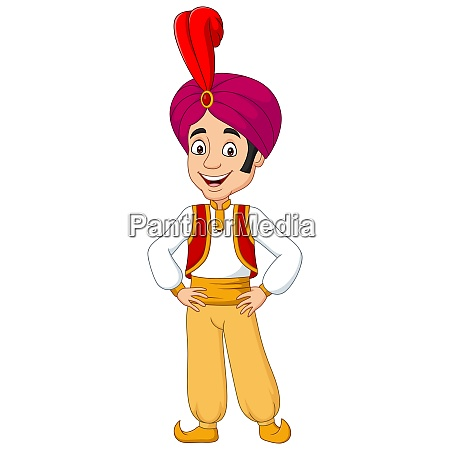 cartoon young aladdin posing on white