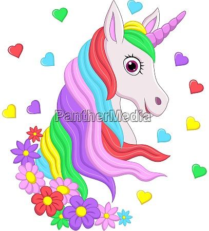 suesse rosa einhorn kopf mit regenbogen