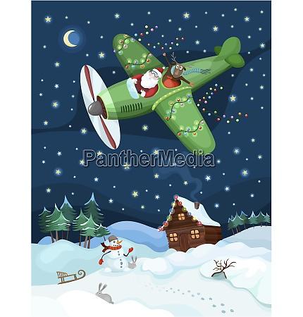 abbildung eines fliegenden weihnachtsmannes