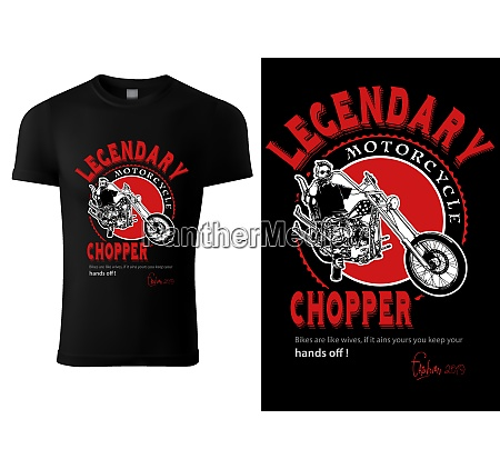 black t shirt design with motorcyclist