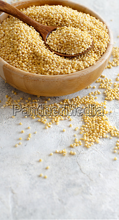 raw dry hulled millet in a