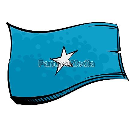 bemalte somalia flagge weht im wind
