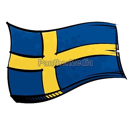 bemalte schweden flagge weht im wind