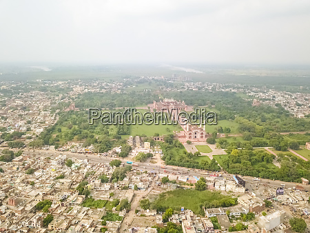 aerial view of tomb of akbar