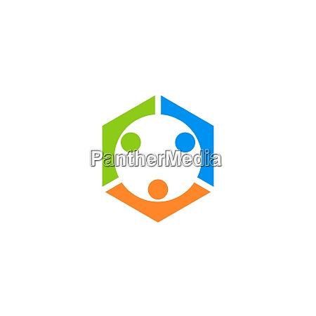 teamwork menschen verbindung business logo symbol