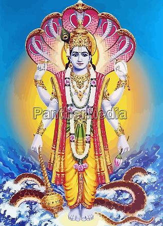 lord vishnu wasser schlange hinduismus mythologie