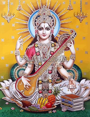 hinduismus gott saraswati spirituelle spiel veena
