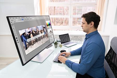 designer bearbeitung von foto auf dem