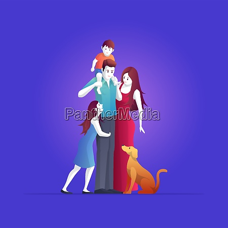 happy family are standing pose vector