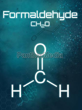 chemische formel von formaldehyd auf futuristischem