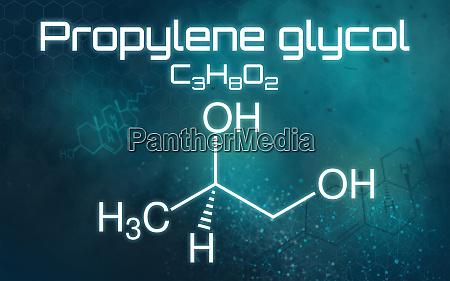 chemische formel von propylenglykol auf futuristischem