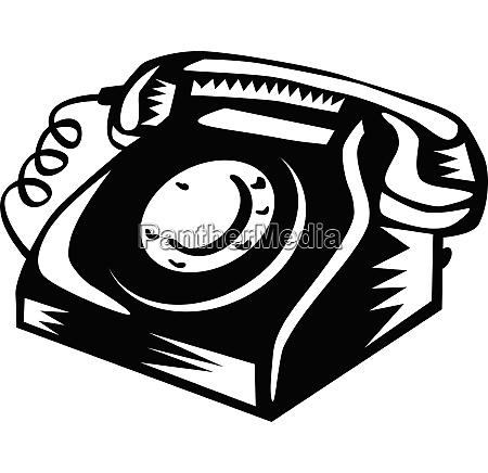 vintage festnetz telefon holzschnitt