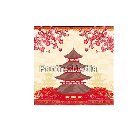 abstract decorative card with asian buildings