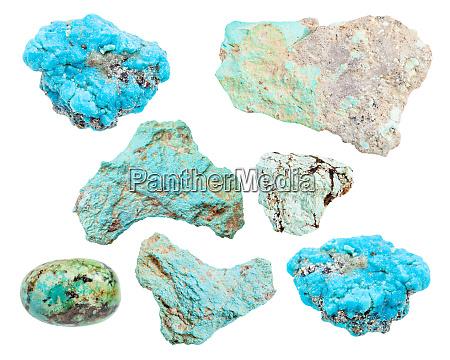 satz von verschiedenen tuerkis edelsteine isoliert
