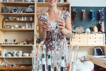 woman having gemstones as a hobby