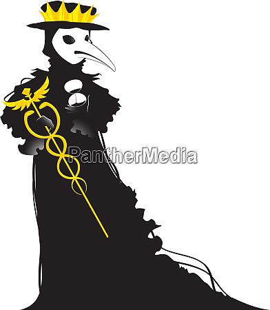 coronavirus stilisiert als schwarzer venezianischer pestarzt