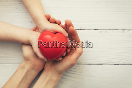 red heart in child and mother