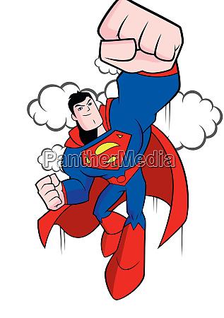 superman illustration comics held super power