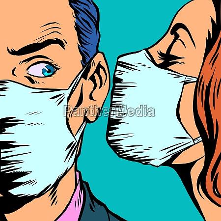 mann und frau in medizinischen masken