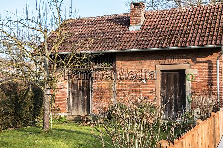 kleines backsteinhaus mit kleinem garten baum