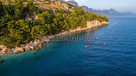 aerial view of kayaking on adriatic