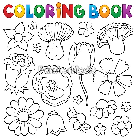 coloring book various flower heads set