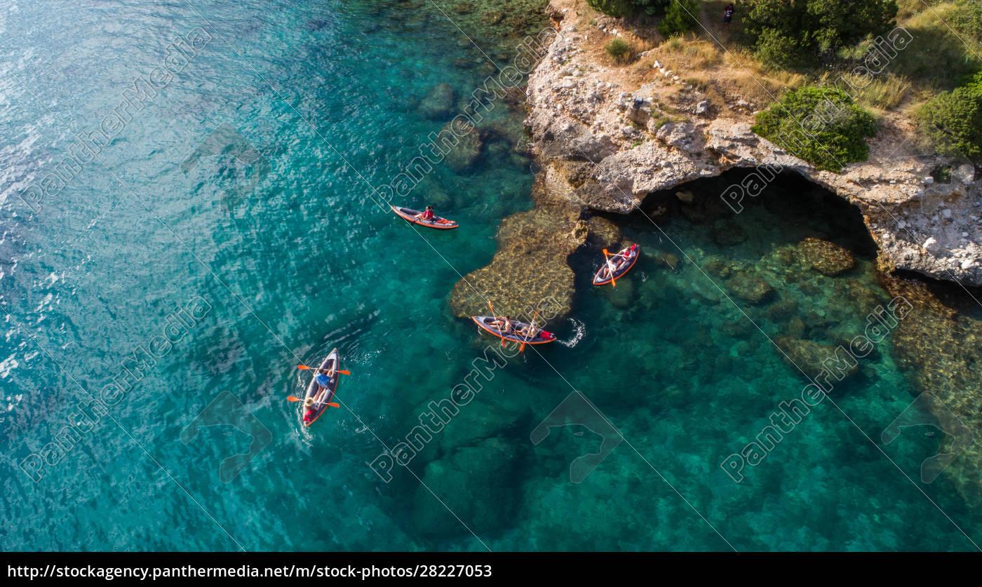 aerial, view, of, kayakers, near, drvenik - 28227053