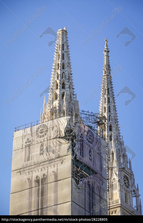 zagreb, von, erdbebengeschädigter, kathedrale, getroffen - 28228805