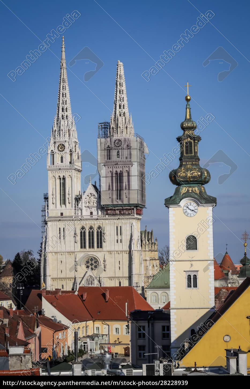 zagreb, von, erdbebengeschädigter, kathedrale, getroffen - 28228939