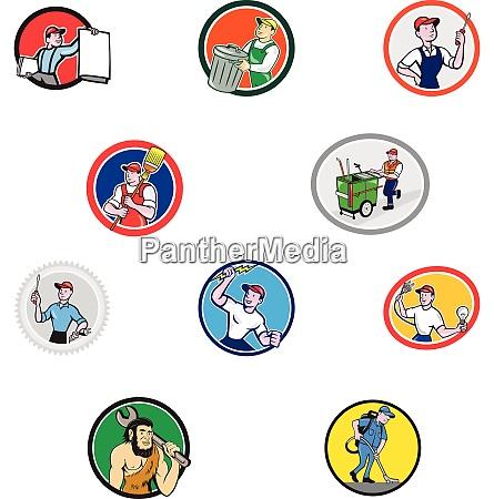 tradesman industrial worker cartoon set collection