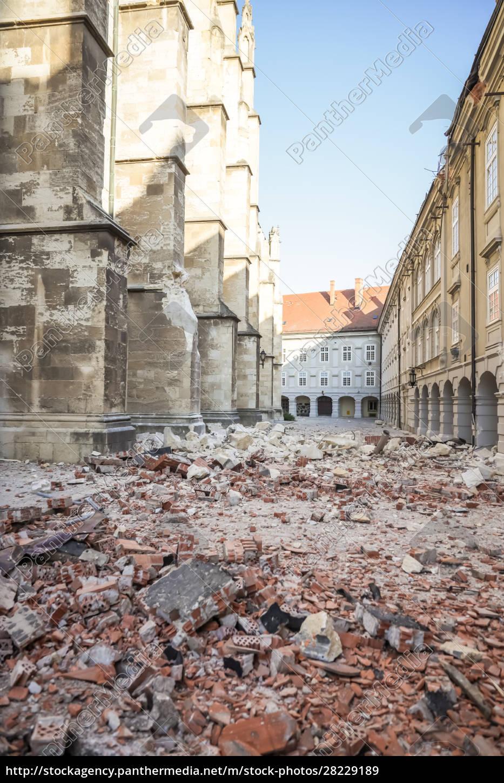 zagreb, von, erdbebengeschädigter, kathedrale, getroffen - 28229189