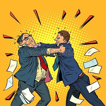 geschaeftsleute kaempfen konfliktwettbewerb