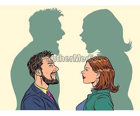 streitbeisen von mann und frau streiten