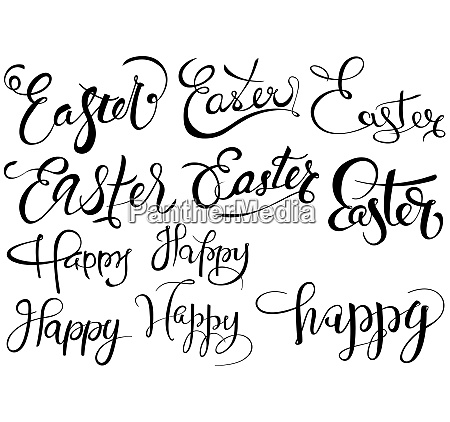 inscriptions happy easter set