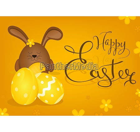 happy easter greeting card with bunny