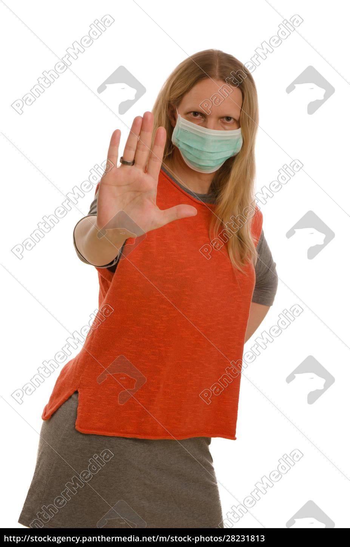 frau, mit, mundschutz, und, maske - 28231813