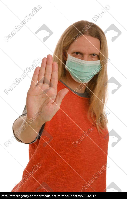frau, mit, mundschutz, und, maske - 28232117