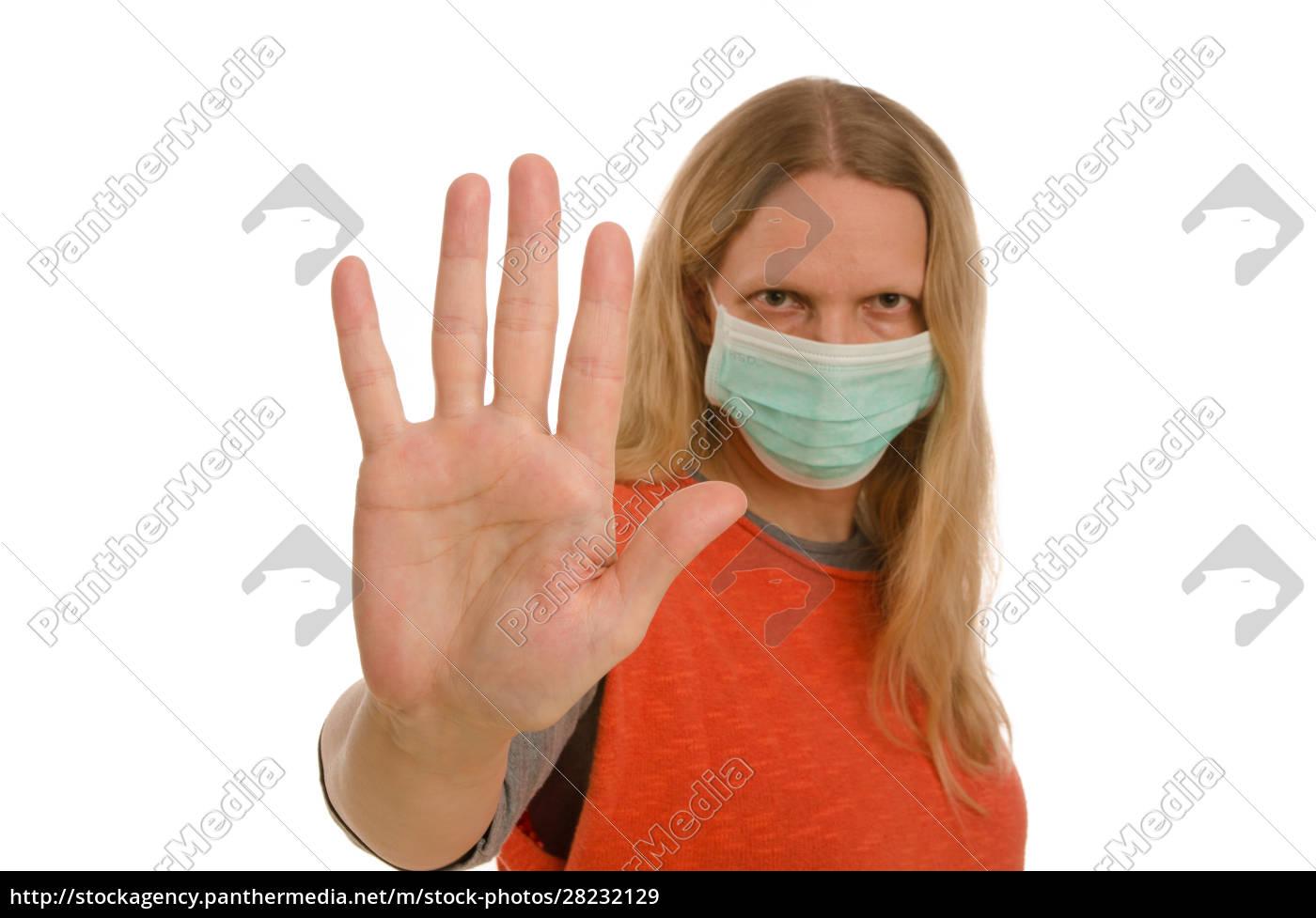 frau, mit, mundschutz, und, maske - 28232129