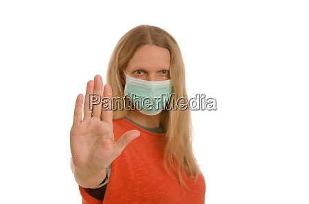 frau, mit, mundschutz, und, maske - 28232138