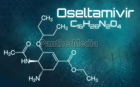 chemische formel von oseltamivir auf futuristischem
